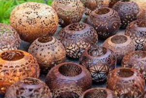 Brass broidered coconut shell craft of Kerala